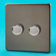Varilight 2 Gang 1 Way 2x250W Rotary Dimmer Light Switch Screwless Pewter/Slate Grey - HDR2S